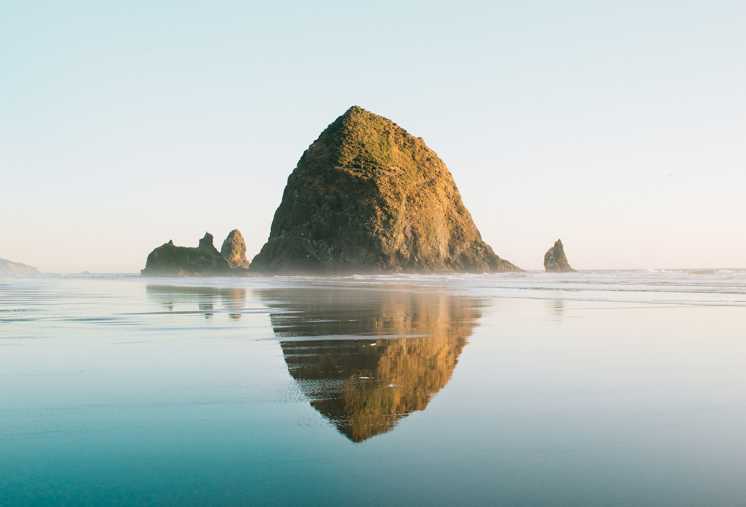 Iconic Haystack Rock Cannon Beach Reflection