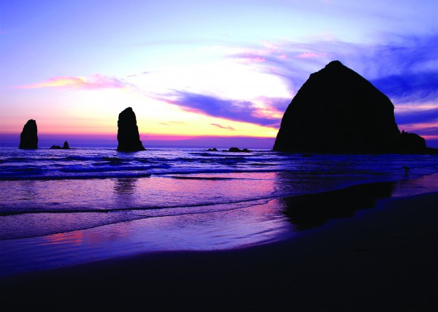 Haystack Rock Oregon at Sunset